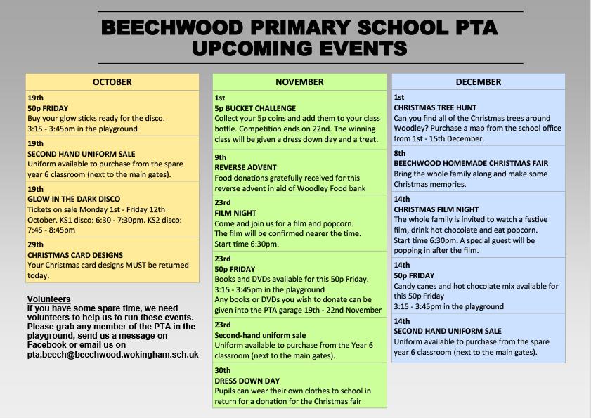 4b0b8bb8dfd PTA Events: October - December 2018 - Beechwood Primary School